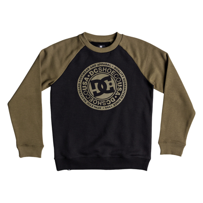 PULOVER DC KID CIRCLE STAR RAGLAN CR BURNT OLIVE/BLK 10/S