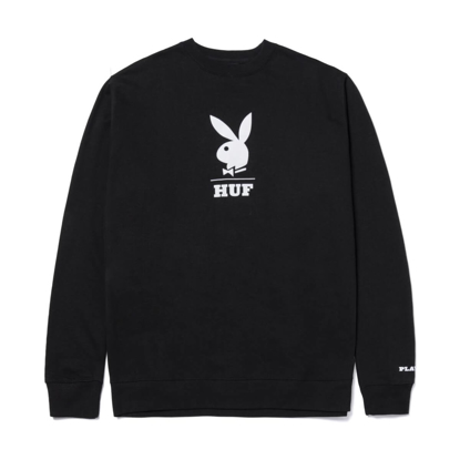PULOVER HUF X PLAYBOY LOGO CREWNECK BLACK M