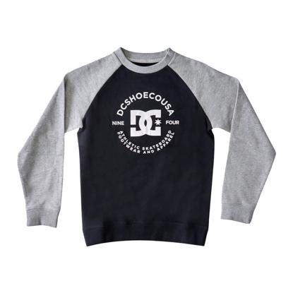 DC DC STAR PILOT RAGLAN CREW KID BLACK/GREY HEATHER 12/M